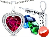 Switch-It Gems™ Heart Shape 10mm Simulated Ruby Pendant with 12 Interchangeable Simulated Birthstones style: 307972