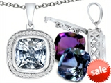 Switch-It Gems™ Cushion Cut 10mm Simulated Diamond Pendant with 12 Interchangeable Simulated Birthstones style: 307993