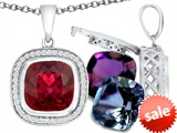 Switch-It Gems™ Cushion Cut 10mm Simulated Ruby Pendant with 12 Interchangeable Simulated Birthstones style: 307995