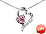 Original Star K™ 7mm Heart Shape Simulated Pink Morganite Heart Pendant style: 308035