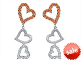 Original Star K™ Dangling Heart with Simulated Orange Mexican Fire Opal Heart Earrings style: 308040