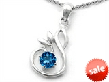Original Star K™ Round Genuine Blue Topaz Swan Pendant