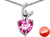 Original Star K™ Heart Shape 8mm Simulated Pink Tourmaline Pendant