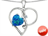 Original Star K™ 10mm Heart Shape Created Blue Opal Knotted Heart Pendant