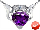 Celtic Love by Kelly™ Claddagh Love Pendant With 8mm Heart Genuine Amethyst and Genuine Diamond