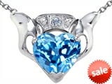 Celtic Love by Kelly™ Claddagh Love Pendant With 8mm Heart Genuine Blue Topaz and Genuine Diamond
