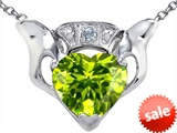Celtic Love by Kelly™ Claddagh Love Pendant With 8mm Heart Genuine Peridot and Genuine Diamond