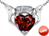 Celtic Love by Kelly™ Claddagh Love Pendant With 8mm Heart Genuine Garnet and Genuine Diamond