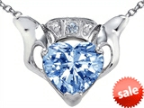 Celtic Love by Kelly™ Claddagh Love Pendant With 8mm Heart Simulated Aquamarine and Genuine Diamond