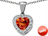 Original Star K™ 8mm Heart Shape Simulated Orange Mexican Fire Opal Heart Pendant style: 308066