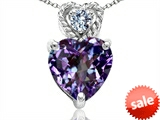 Tommaso Design™ 8mm Heart Shape Simulated Alexandrite and Diamond Pendant style: 308077