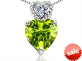 Tommaso Design™ 8mm Heart Shape Genuine Peridot and Diamond Pendant style: 308084