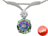 Tommaso Design™ Round 7mm Mystic Rainbow Topaz and Genuine Diamond Pendant