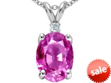 Tommaso Design™ Large Oval Created Pink Sapphire and Genuine Diamond Pendant