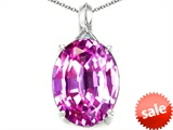 Tommaso Design™ Oval 12x10mm Simulated Pink Tourmaline and Diamond Pendant style: 308110