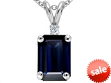Tommaso Design™ Emerald Cut Genuine Sapphire and Diamond Pendant