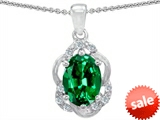Tommaso Design™ Oval 7x5mm Simulated Emerald and Diamond Pendant
