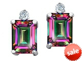 Tommaso Design™ Emerald Cut Rainbow Mystic Topaz and Genuine Diamonds Earring Studs