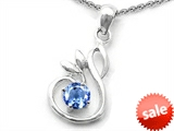 Original Star K™ Round Simulated Aquamarine Swan Pendant