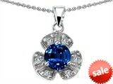 Original Star K™ Flower Pendant With Round 6mm Created Sapphire