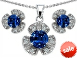 Original Star K™ Created Sapphire Flower Pendant With Matching Earrings style: 308134