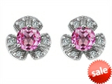 Original Star K™ Flower Earrings With Round 5mm Created Pink Sapphire
