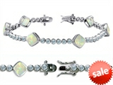 Original Star K™ High End Tennis Bracelet With 6pcs 7mm Cushion Cut Simulated Opal style: 308147