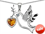 Original Star K™ Peace Love Dove Pendant with 7mm Heart Shape Genuine Citrine style: 308151