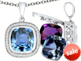 Switch-It Gems™ Interchangeable Simulated Aquamarine Pendant Set with 12 Cushion Cut 10mm Birthstones Included style: 308157