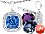 Switch-It Gems™ Interchangeable Simulated Blue Topaz Pendant Set with 12 Cushion Cut 10mm Birthstones Included style: 308161