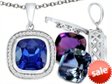 Switch-It Gems™ Interchangeable Simulated Sapphire Pendant Set with 12 Cushion Cut 10mm Birthstones Included style: 308162