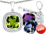 Switch-It Gems™ Interchangeable Simulated Peridot Pendant 12 Cushion Cut 10mm Birthstones style: 308165