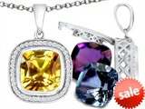 Switch-It Gems™ Interchangeable Simulated Citrine Pendant Set with 12 Cushion Cut 10mm Birthstones Included style: 308168