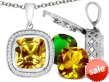 Switch-It Gems™ Interchangeable Simulated Citrine Pendant Set with 12 Cushion Cut 12mm Birthstones Included style: 308169