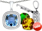 Switch-It Gems™ Interchangeable Simulated Aquamarine Pendant Set with 12 Cushion Cut 12mm Birthstones Included style: 308170