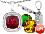 Switch-It Gems™ Interchangeable Simulated Ruby Pendant Set with 12 Cushion Cut 12mm Birthstones Included style: 308171