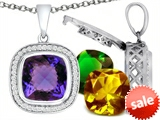 Switch-It Gems™ Interchangeable Simulated Alexandrite Pendant Set with 12 Cushion Cut 12mm Birthstones Included