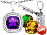 Switch-It Gems™ Interchangeable Simulated Amethyst Pendant Set with 12 Cushion Cut 12mm Birthstones Included style: 308173