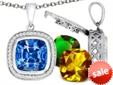 Switch-It Gems™ Interchangeable Simulated Blue Topaz Pendant Set with 12 Cushion Cut 12mm Birthstones Included