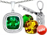 Switch-It Gems™ Interchangeable Simulated Emerald Pendant Set with 12 Cushion Cut 12mm Birthstones Included