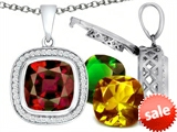 Switch-It Gems™ Interchangeable Simulated Garnet Pendant Set with 12 Cushion Cut 12mm Birthstones Included