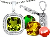 Switch-It Gems™ Interchangeable Simulated Peridot Pendant Set with 12 Cushion Cut 12mm Birthstones Included