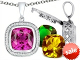 Switch-It Gems™ Interchangeable Simulated Pink Tourmaline Pendant Set with 12 Cushion Cut 12mm Birthstones Included