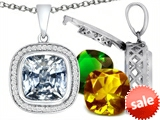 Switch-It Gems™ Interchangeable Simulated Diamond Pendant Set with 12 Cushion Cut 12mm Birthstones Included style: 308179