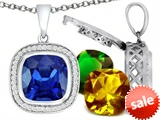 Switch-It Gems™ Interchangeable Simulated Sapphire Pendant Set with 12 Cushion Cut 12mm Birthstones Included