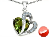 Original Star K™ Large 12mm Simulated Green Tourmaline Heart Pendant with Sterling Silver Chain