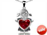 Original Star K™ Little Girl Holding 8mm Heart Mother Birthstone Pendant Created Ruby
