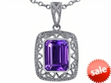Tommaso Design™ Emerald Cut Genuine Amethyst Pendant
