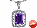 Tommaso Design™ Emerald Cut Genuine Amethyst Pendant style: 308188