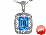 Tommaso Design™ Emerald Cut Genuine Blue Topaz Pendant